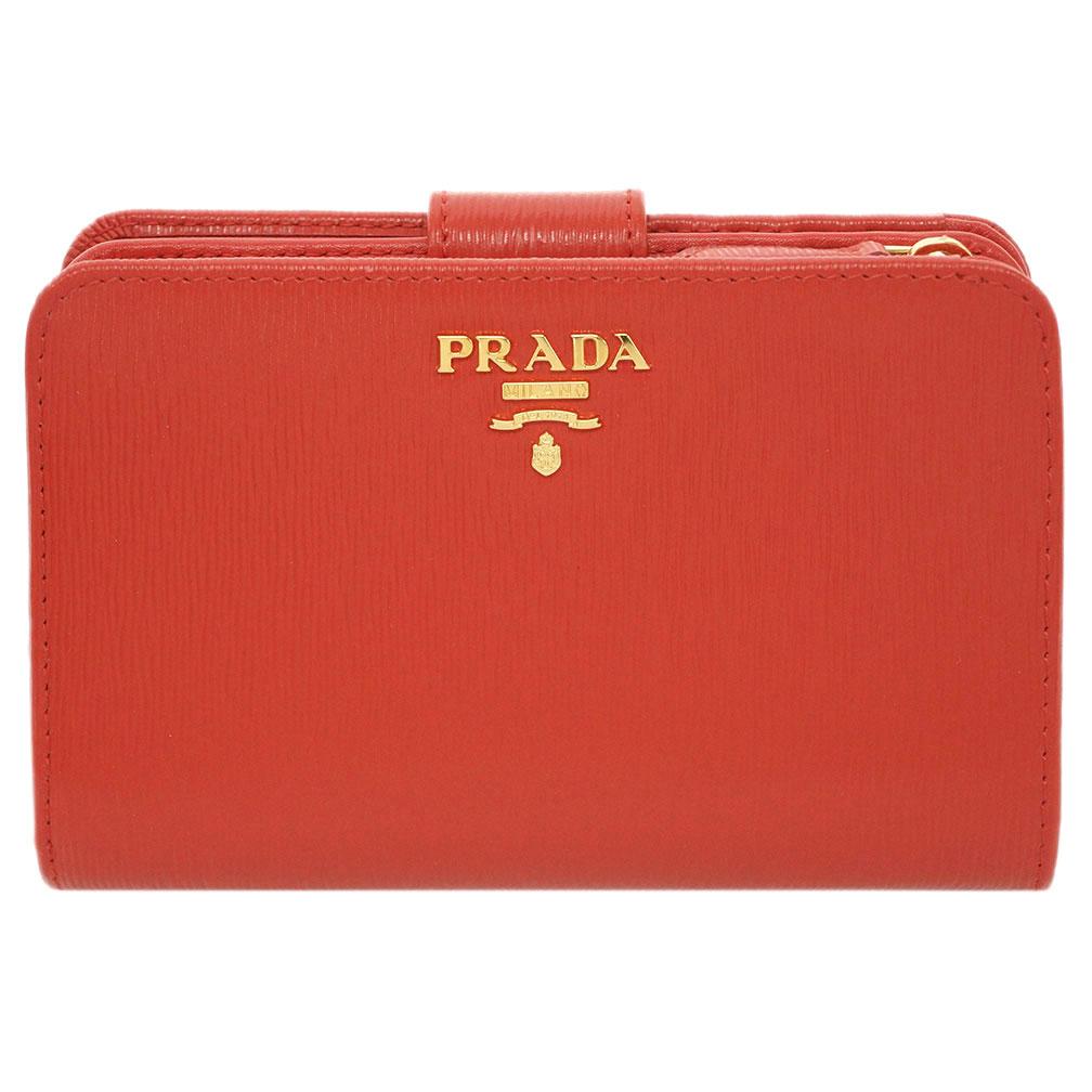 プラダ 財布 1ML225 PRADA L字ミディアムジップ財布 ヴィテッロ ムーブ LACCA 1 ラッカ カーフレッド ゴールドロゴ アウトレット キャッシュレスで5%還元!