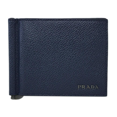 プラダ 財布 2MN077 PRADA メンズ 二つ折り マネークリップ 札入れ VIT.MICRO GRAIN BALTICO+NERO カーフネイビー+ブラック アウトレット あす楽対応