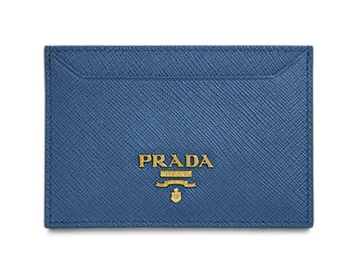 プラダ カードケース 1MC208 シンプル名刺入れ GLロゴ サッフィアーノ コバルト カーフブルー