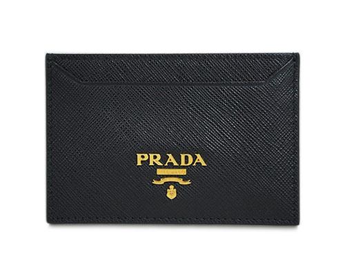 プラダ カードケース 1MC208 シンプル名刺入れ GLロゴ サッフィアーノ ネロ カーフブラック