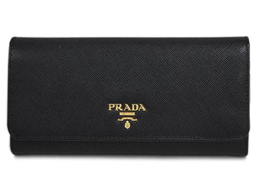 プラダ 財布 1MH132 ファスナー長財布 パスケース付き 後F付きポケット ゴールド金具 サッフィアーノ ネロ カーフブラック