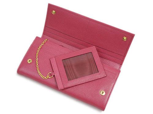 プラダ 財布 1MH132 ファスナー長財布 パスケース付き 後F付きポケット ゴールド金具 サッフィアーノ トライアングル ペオニア カーフピンク