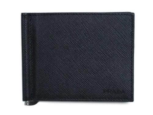 プラダ 財布 2MN077 メンズ 二つ折り マネークリップ 札入れ サッフィアーノ 1 NERO ネロ カーフブラック