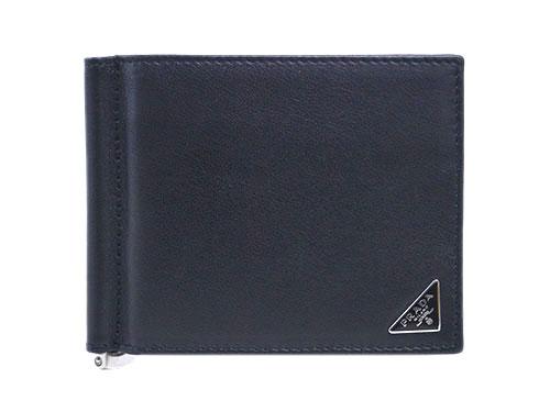 プラダ 財布 2MN077 メンズ マネークリップ ヴィテッロ ネロ カーフブラック 三角プレート あす楽対応