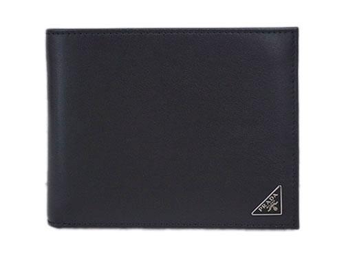プラダ 財布 2MO002 メンズ 二つ折り 小銭入れ付き 横長 ヴィテッロ NERO ネロ カーフブラック 三角プレート アウトレット あす楽対応