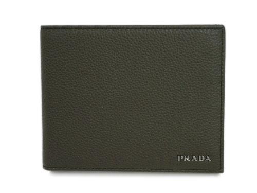 プラダ 財布 2MO002 メンズ 二つ折り 小銭入れ付き 横長 ヴィテッロ グレイン ミリターレ カーフミリタリーグリーン アウトレット