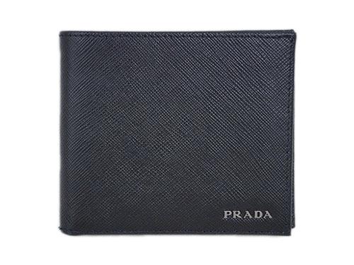 プラダ 財布 2MO738 メンズ 二つ折り 小銭入れ付き サッフィアノ バイカラー NERO+MERCURIO カーフブラック+グレー シルバーロゴ アウトレット あす楽対応