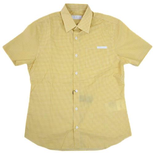 プラダ シャツ UCS137 メンズ 半袖 コットン100% ダイヤプリント イエロー/ホワイト