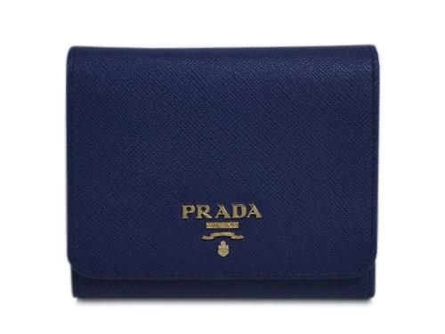 プラダ 財布 1MH176 三つ折り 小銭入れ付き ゴールド金具 サッフィアーノ INCHIOSTRO インキオストロ カーフインクブルー アウトレット