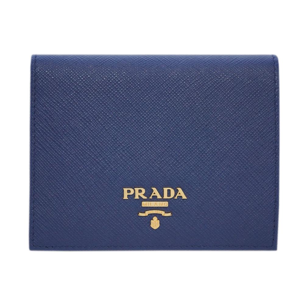 プラダ 財布 1MV204 PRADA 二つ折り 小 小銭入れ付き SAFFIANO METAL INCHIOSTRO インキオストロ カーフインクブルー ゴールドロゴ アウトレット