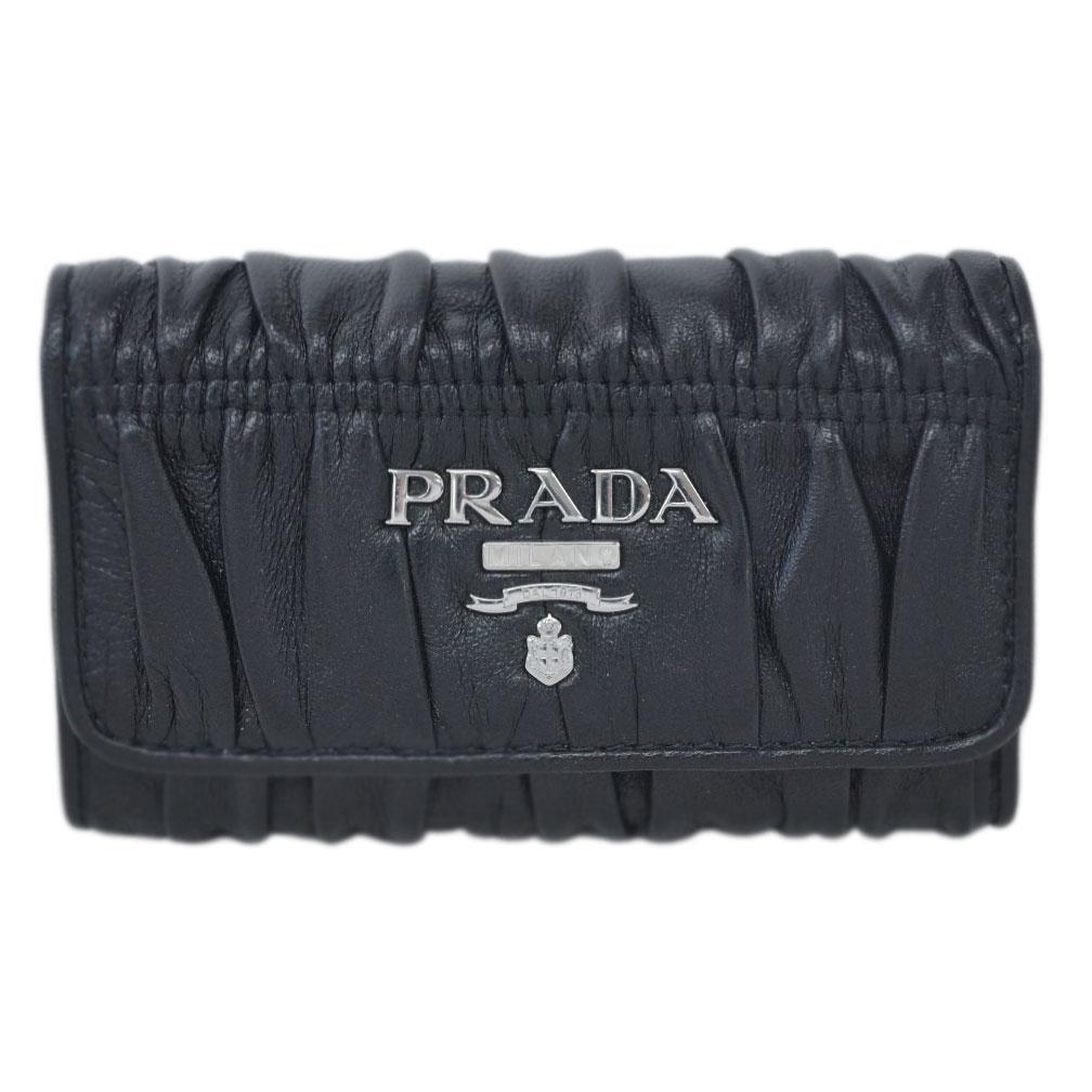 プラダ キーケース 1PG222 PRADA 6連キーケース ワッフル ナッパ SVロゴ NERO ネロ ブラック アウトレット あす楽対応