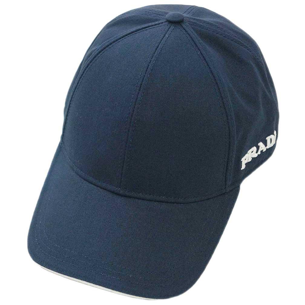 プラダ 帽子 2HC274 PRADA キャップ ロゴ コットン ネイビー アウトレット