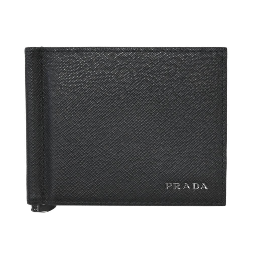 プラダ 財布 2MN077 PRADA メンズ 二つ折り マネークリップ 札入れ SAFFIANO BICOLO NERO+MERCURIO カーフブラック+グレー アウトレット あす楽対応