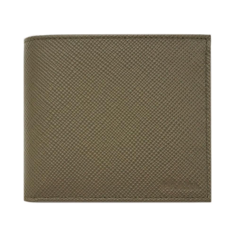 プラダ 財布 2MO738 PRADA メンズ 二つ折り 小銭入れ付き サッフィアーノ キュイール MILITARE カーフミリタリーグリーン アウトレット
