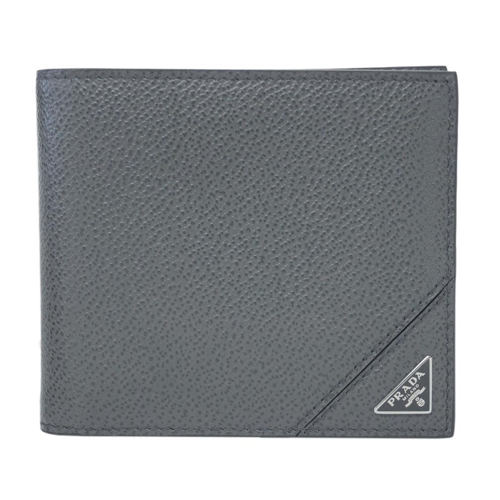 プラダ 財布 2MO513 PRADA メンズ 二つ折り 札入れ VIT.MICRO GRAIN MERCURIO メルクリオ カーフグレー 三角プレート アウトレット あす楽対応