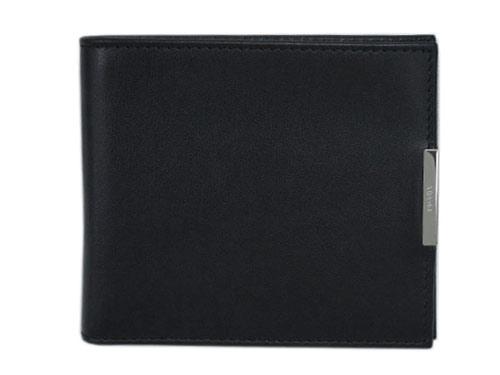 プラダ 財布 2MO513 メンズ 二つ折り 札入れ ヴィテッロ メタル NERO ネロ カーフブラック シルバープレート