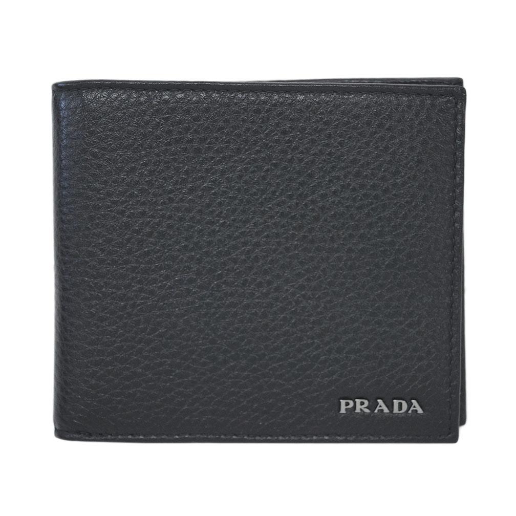 プラダ 財布 2MO738 PRADA メンズ 二つ折り 小銭入れ付き VITELLO GRAIN NERO ネロ カーフブラック アウトレット あす楽対応