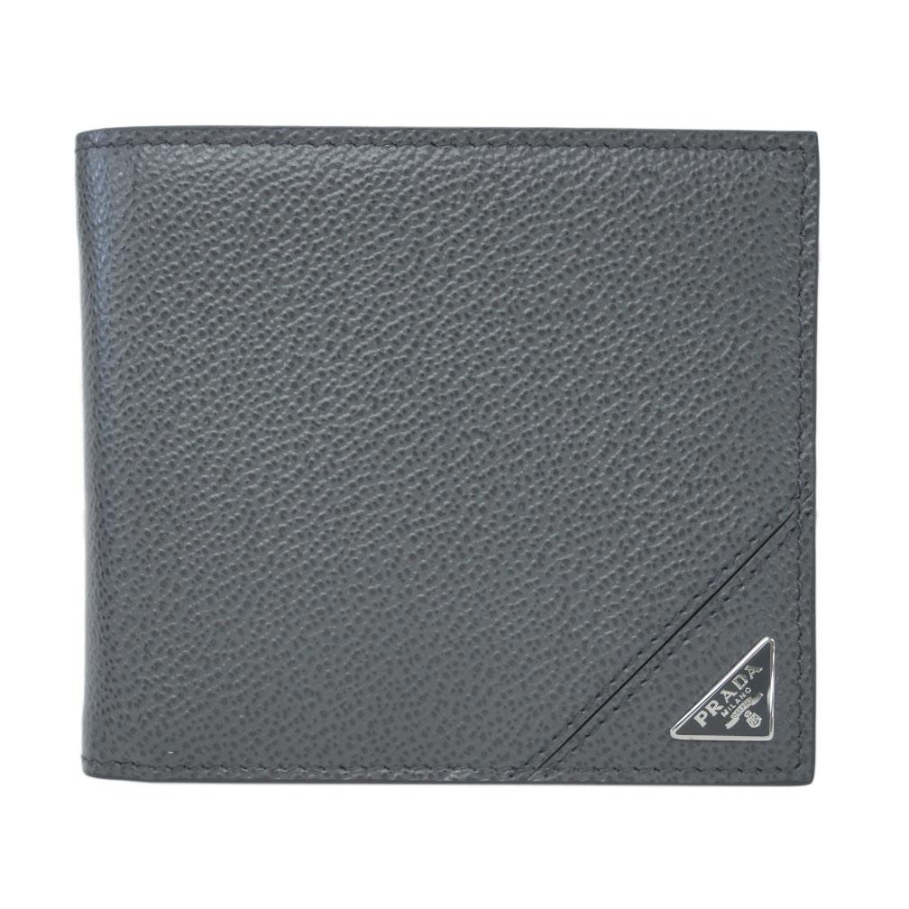 プラダ 財布 2MO738 PRADA メンズ 二つ折り 小銭入れ付き VIT.MICRO GRAIN MERCURIO メルクリオ カーフグレー 三角プレート アウトレット あす楽対応