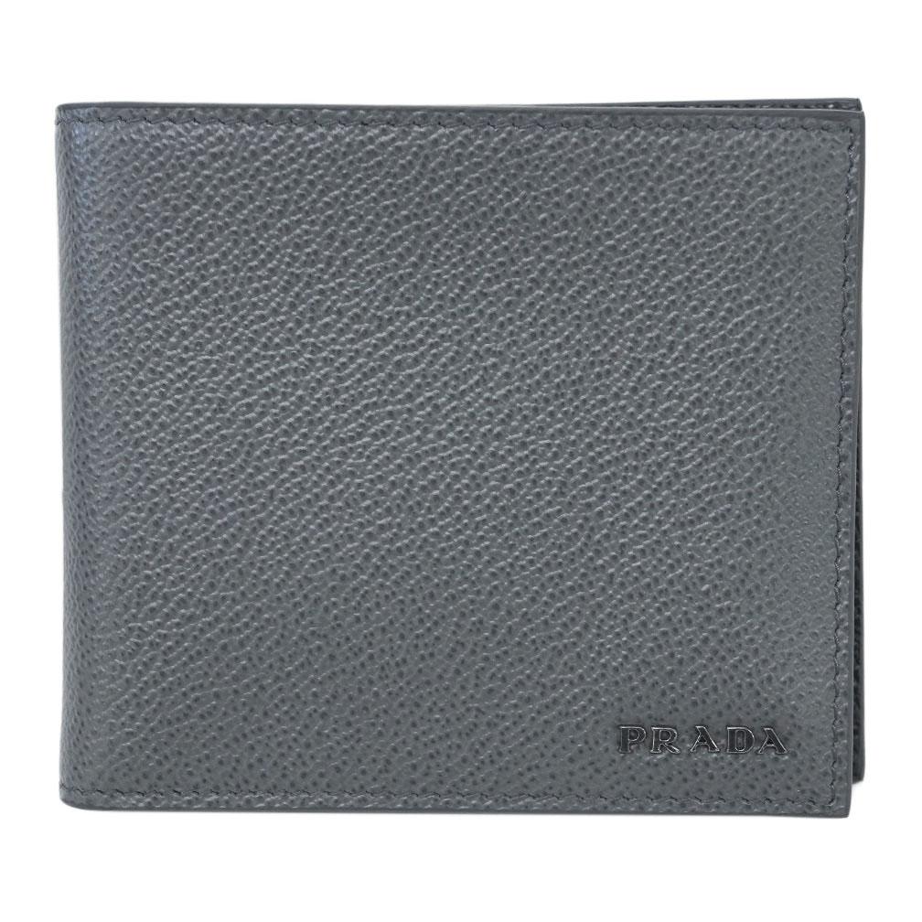 プラダ 財布 2MO738 PRADA メンズ 二つ折り 小銭入れ付き VIT.MICRO GRAIN MERCURIO+NERO カーフグレー+ブラック アウトレット あす楽対応