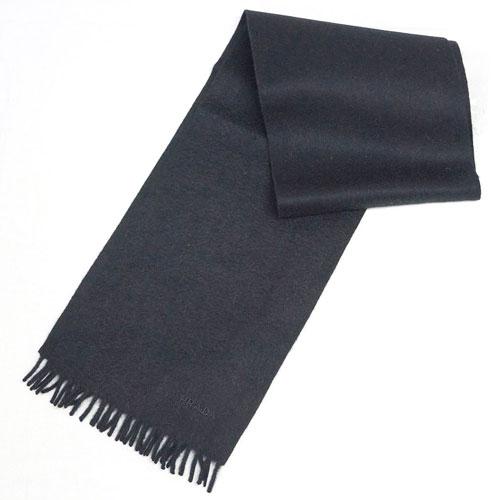 プラダ マフラー USC128 カシミア/ウール 無地 NERO ネロ ブラック ロゴ刺繍