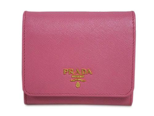 プラダ 財布 1MH176 三つ折り 小銭入れ付き ゴールド金具 サッフィアーノ GERANIO ジェラニオ カーフピンク アウトレット