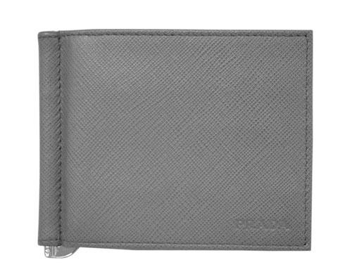 プラダ 財布 2MN077 メンズ 二つ折り マネークリップ 札入れ サッフィアーノ 1 MERCURIO メルクリオ カーフグレー アウトレット