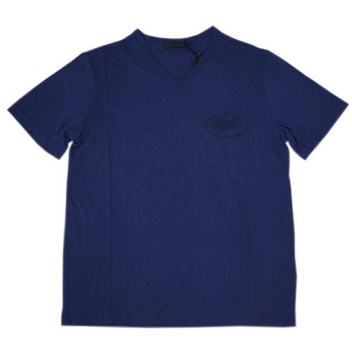 プラダ Tシャツ UJM507 メンズ 半袖 Vネック コットン100% BALTICO バルティコ ブルー Lサイズ アウトレット