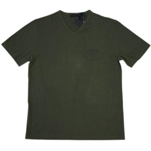 プラダ Tシャツ UJM507 メンズ 半袖 Vネック コットン100% MILITARE ミリターレ ミリタリーグリーン Lサイズ アウトレット わけあり