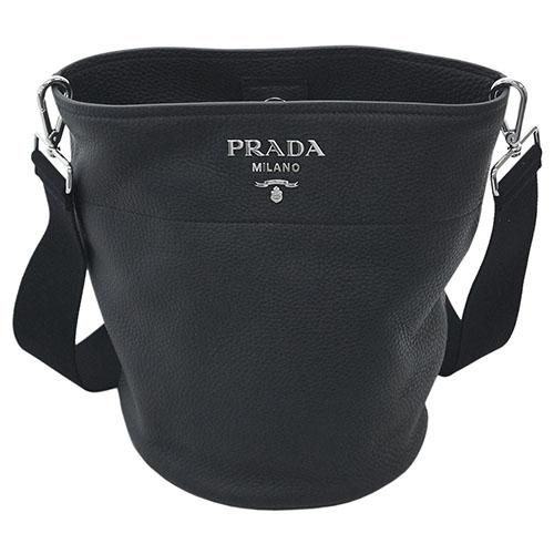 プラダ バッグ 1BE012 PRADA ショルダーバッグ バケツ型 VIT.DAINO NERO ネロ カーフブラック シルバー金具 アウトレット あす楽対応