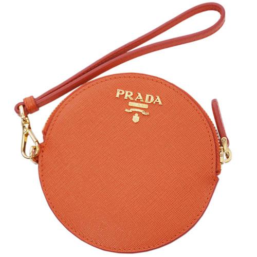 プラダ コインケース 1M1443 PRADA 小銭入れ 丸型 ストラップ付き サッフィアーノ PAPAYA パパヤ カーフパパイアオレンジ アウトレット