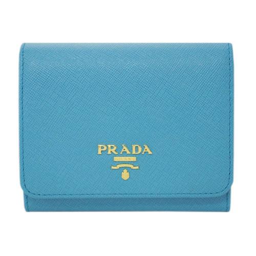 プラダ 財布 1MH176 PRADA 三つ折り 小銭入れ付き ゴールド金具 サッフィアーノ VOYAG ヴォヤージュ カーフブルー アウトレット あす楽対応