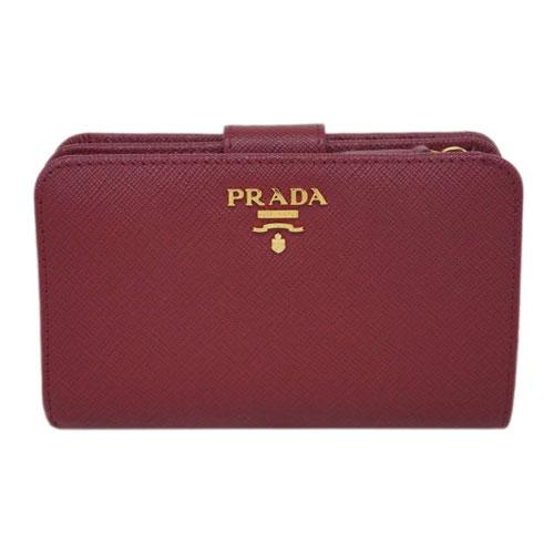 プラダ 財布 1ML225 PRADA L字ミディアムジップ財布 サッフィアーノ CERISE スリーズ カーフダークレッド アウトレット あす楽対応