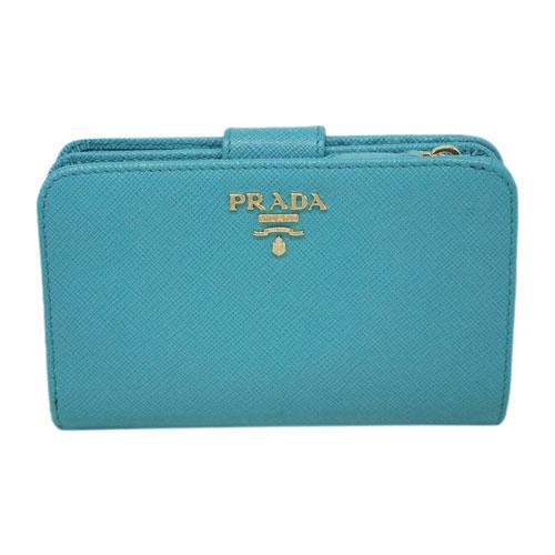 プラダ 財布 1ML225 PRADA L字ミディアムジップ財布 サッフィアーノ TURCHESE ターコイズ カーフブルー アウトレット あす楽対応