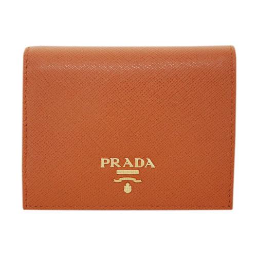 プラダ 財布 1MV204 PRADA 二つ折り 小 小銭入れ付き ゴールド金具 サッフィアーノ PAPAYA パパヤ カーフパパイアオレンジ アウトレット あす楽対応