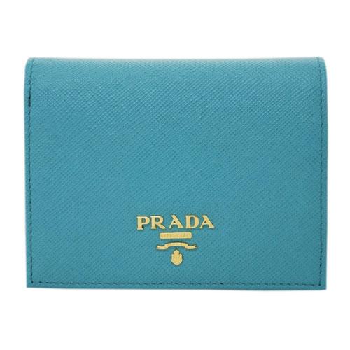 プラダ 財布 1MV204 PRADA 二つ折り 小 小銭入れ付き ゴールド金具 サッフィアーノ TURCHESE ターコイズ カーフブルー アウトレット あす楽対応