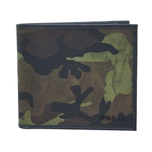プラダ 財布 2MO738 PRADA メンズ 二つ折り 小銭入れ付き テッスート カモフラージュ MIMETICO ミメティコ ナイロンカーキ アウトレット あす楽対応