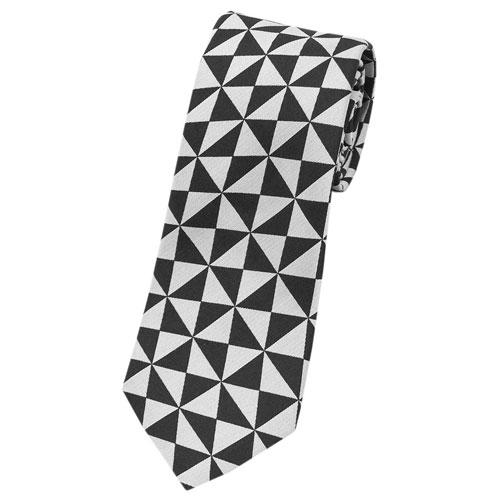 プラダ ネクタイ UCR77 PRADA メンズ ジャガード デザイン BIANCO シルバーグレー/ブラック アウトレット