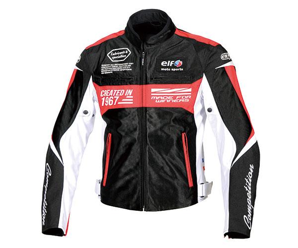 2021SS あす楽 エルフ elf 購買 イデアールメッシュジャケット バイク デポー ブラック EJ-S103 春夏 メンズ レッド 4Lサイズ