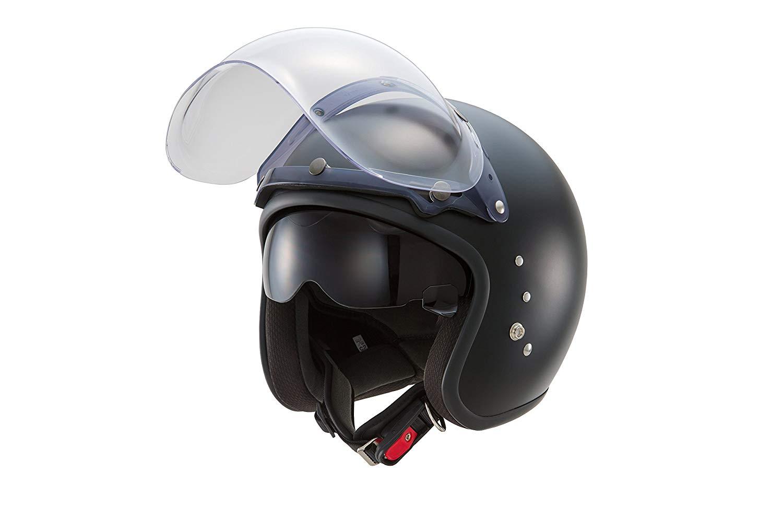 【あす楽】TT-380【フラットブラック】スモールジェットヘルメット 【インナースモークシールド装備】【バブルシールド付属】