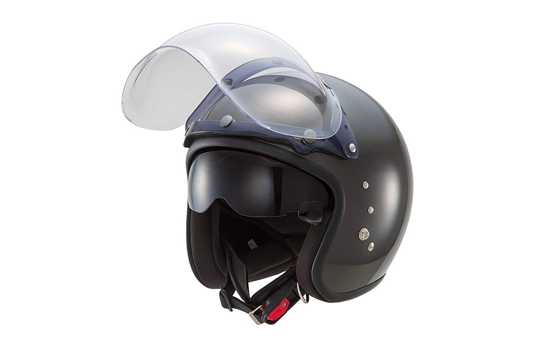 【あす楽】TT-380【ガンメタリック】スモールジェットヘルメット 【インナースモークシールド装備】【バブルシールド付属】