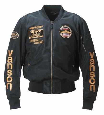 【あす楽】【メンズ】VS19102S【ブラック/イエロー】【Mサイズ】メッシュジャケット バンソン/VANSON【脱着式防風インナー装備】【肩・肘・背中プロテクター標準装備】