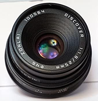 中古 zonlai 日本最大級の品揃え デポー 25?mm f1.8?Discover手動レンズブラックマイクロ4? 3カメラfor Panasonic Olympus