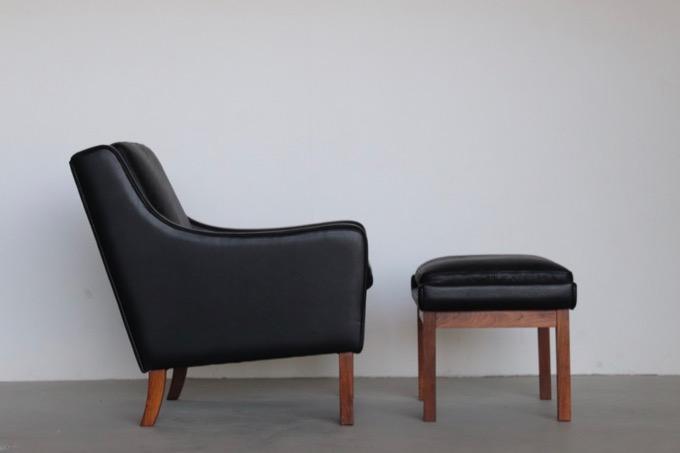 【北欧家具】本革張替済 デンマーク製 1Pソファ+オットマン ローズウッド