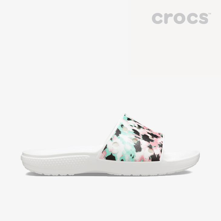 クロックス《ユニセックス》クラシック クロックス タイ ダイ マニア スライド マルチ ホワイト CROCS Classic Multi Sandal Dye セール特別価格 Crocs # Mania 絶品 Tie Slide - White