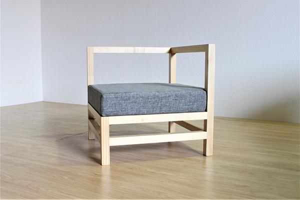 送料無料 コーナーソファー 無垢材 木製 クッション 1人掛け 1人用 椅子 イス ソファ フロアソファー ナチュラル ウォールナット おしゃれ 北欧 モダン ミッドセンチュリー