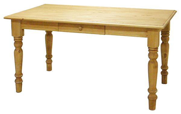 送料無料 パイン材 ダイニングテーブル 単品 幅135cm 4人掛け 4人用 無垢材 木製 北欧 ナチュラル カントリー 引き出し 収納 おしゃれ 高級感 作業台 机 食卓テーブル