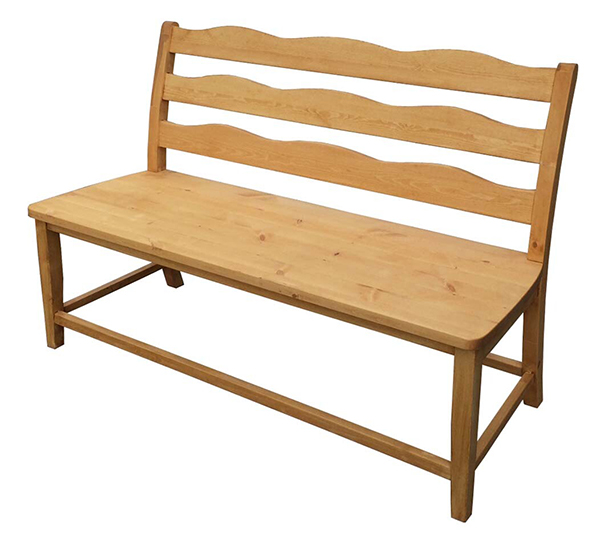 送料無料 パイン材 背付きベンチ 幅120cm 無垢材 木製 ダイニングベンチ 北欧 ナチュラル カントリー 椅子 イス いす 長椅子 2人掛け 2人用 おしゃれ かわいい 高級感