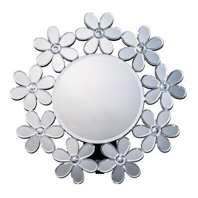 送料無料 丸型ミラー フラワー 卓上 円型 壁掛け スタンドミラー コスメミラー メイク鏡 ゴージャス 高級感 おしゃれ かがみ