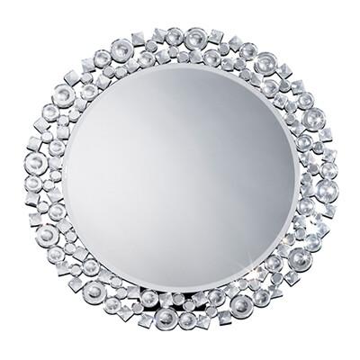 送料無料 丸型ミラー クリスタル 卓上 円型 壁掛け スタンドミラー コスメミラー メイク鏡 ゴージャス 高級感 おしゃれ かがみ