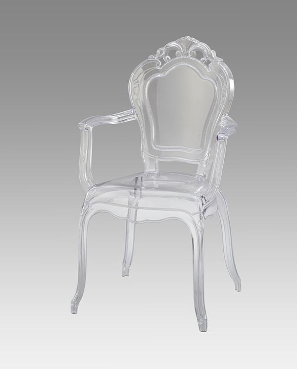 送料無料 スケルトンチェア 肘付 ダイニングチェアー アンティーク おしゃれ イス 椅子 いす チェア コモ ラウンジチェアー ガーデンチェアー 透明 クラシック